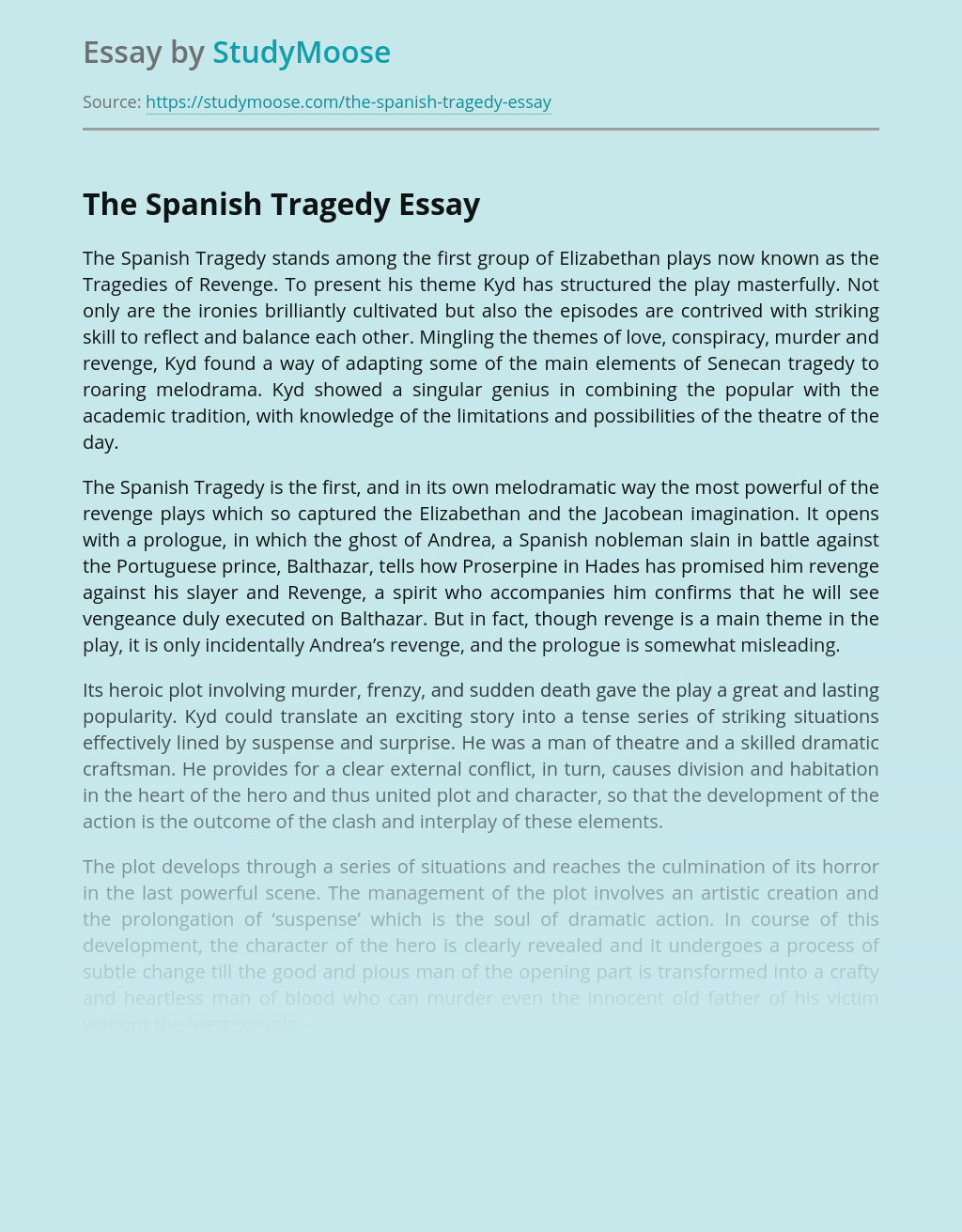 """The Spanish Tragedy"" by Thomas Kyd"