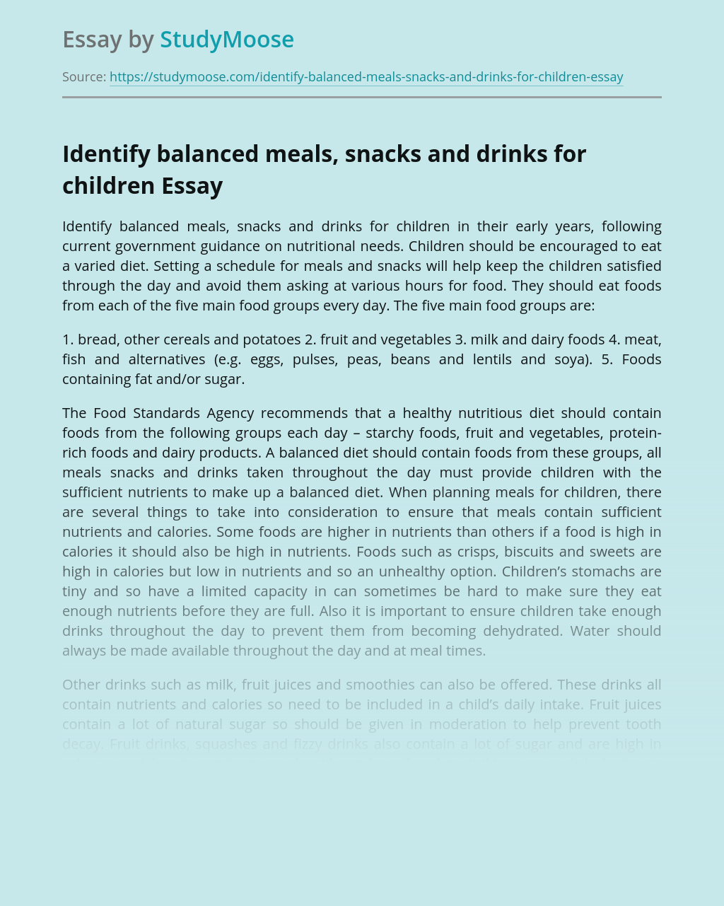 Identify balanced meals, snacks and drinks for children