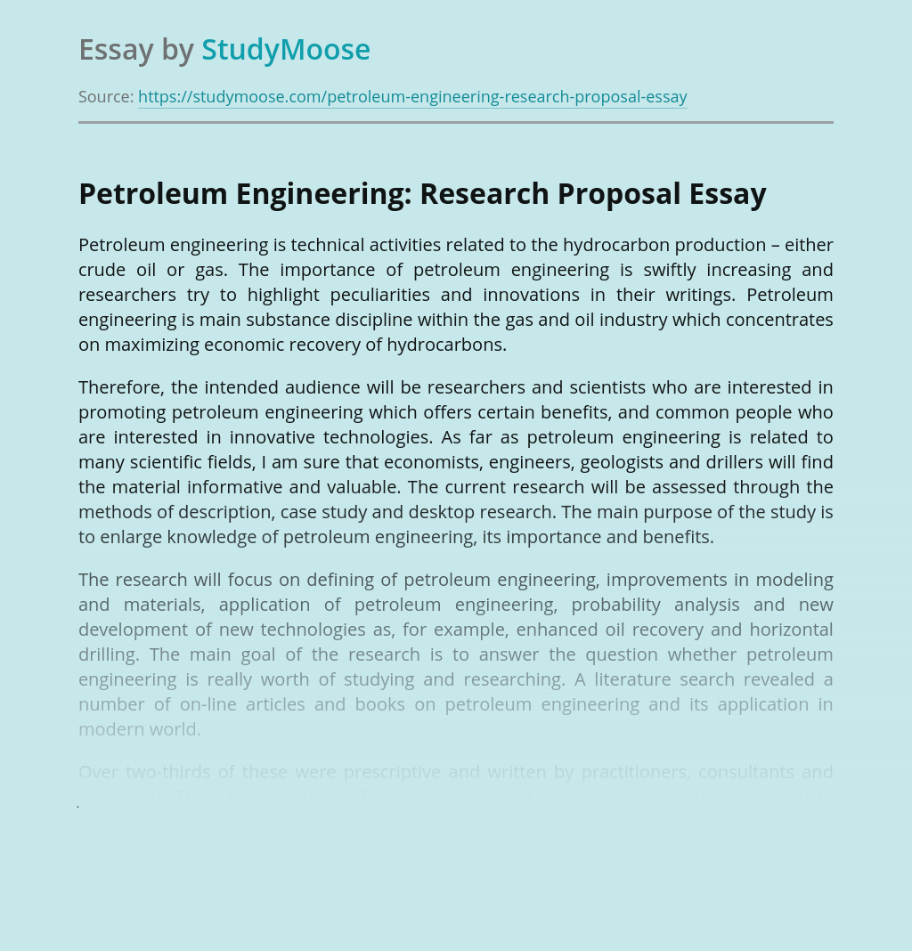 Petroleum Engineering: Research Proposal