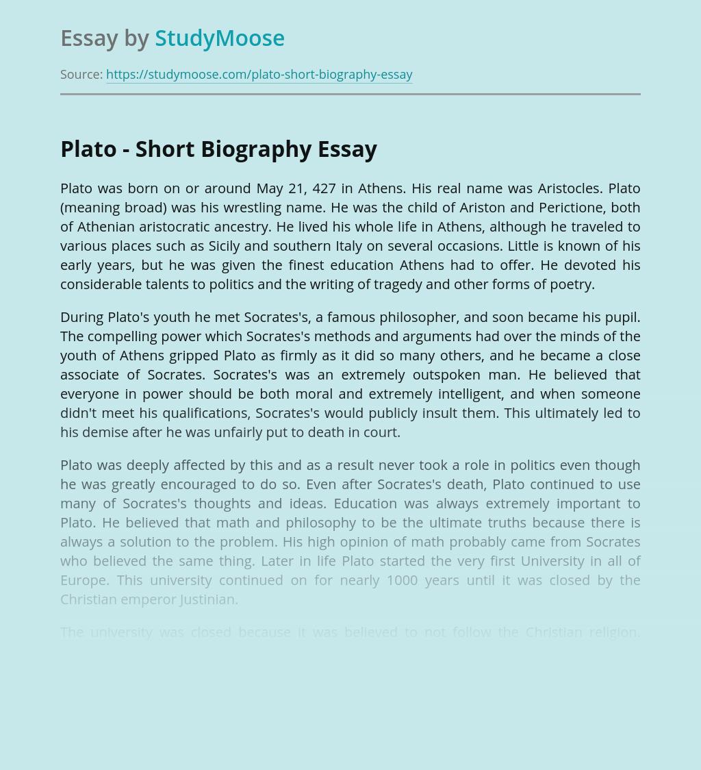 Plato - Short Biography