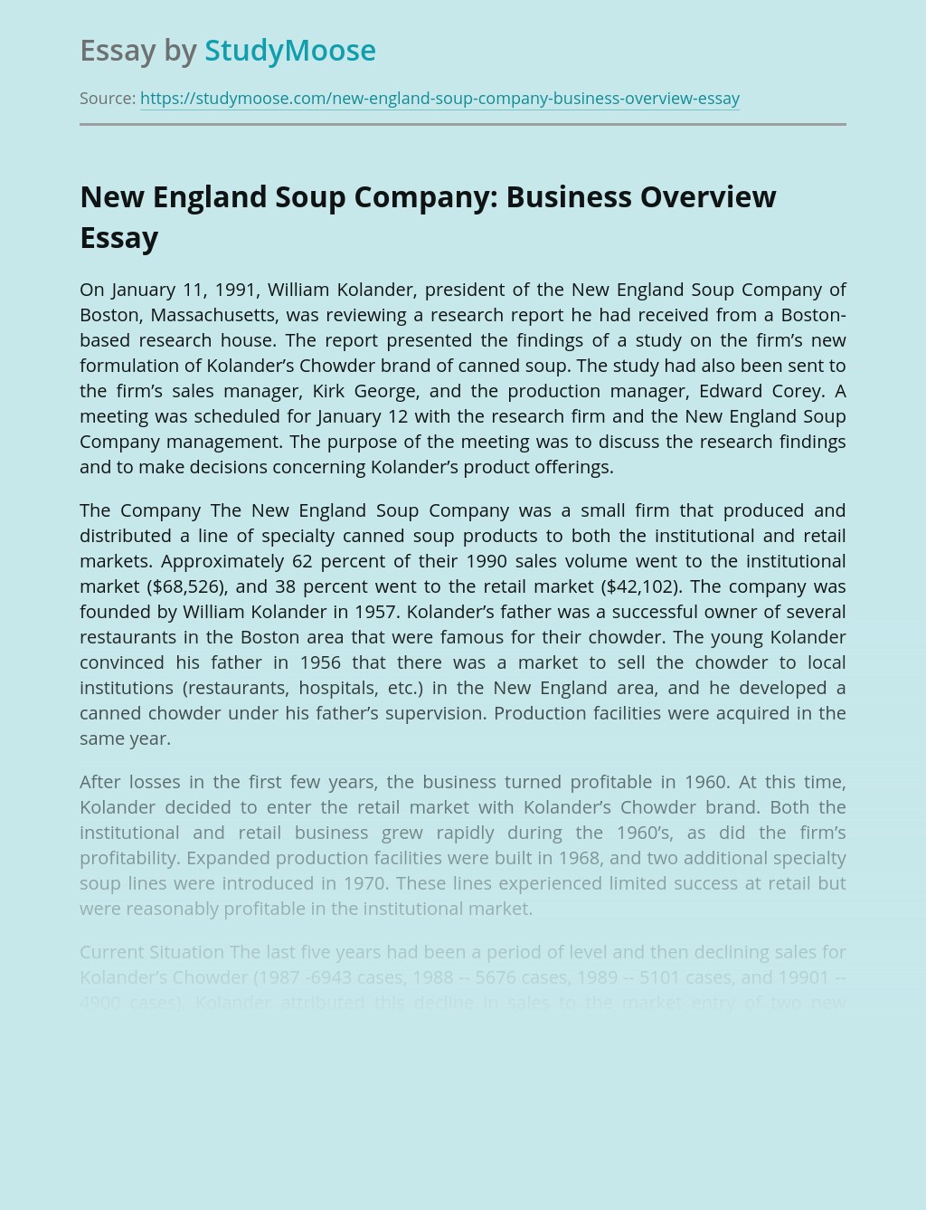 New England Soup Company: Business Overview