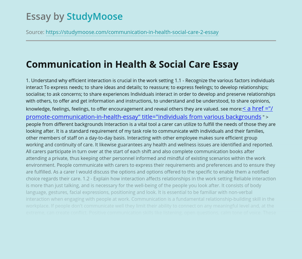 Communication in Health & Social Care