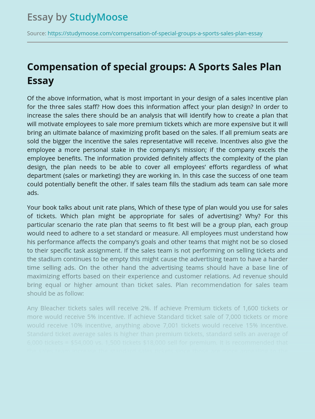 Compensation of special groups: A Sports Sales Plan