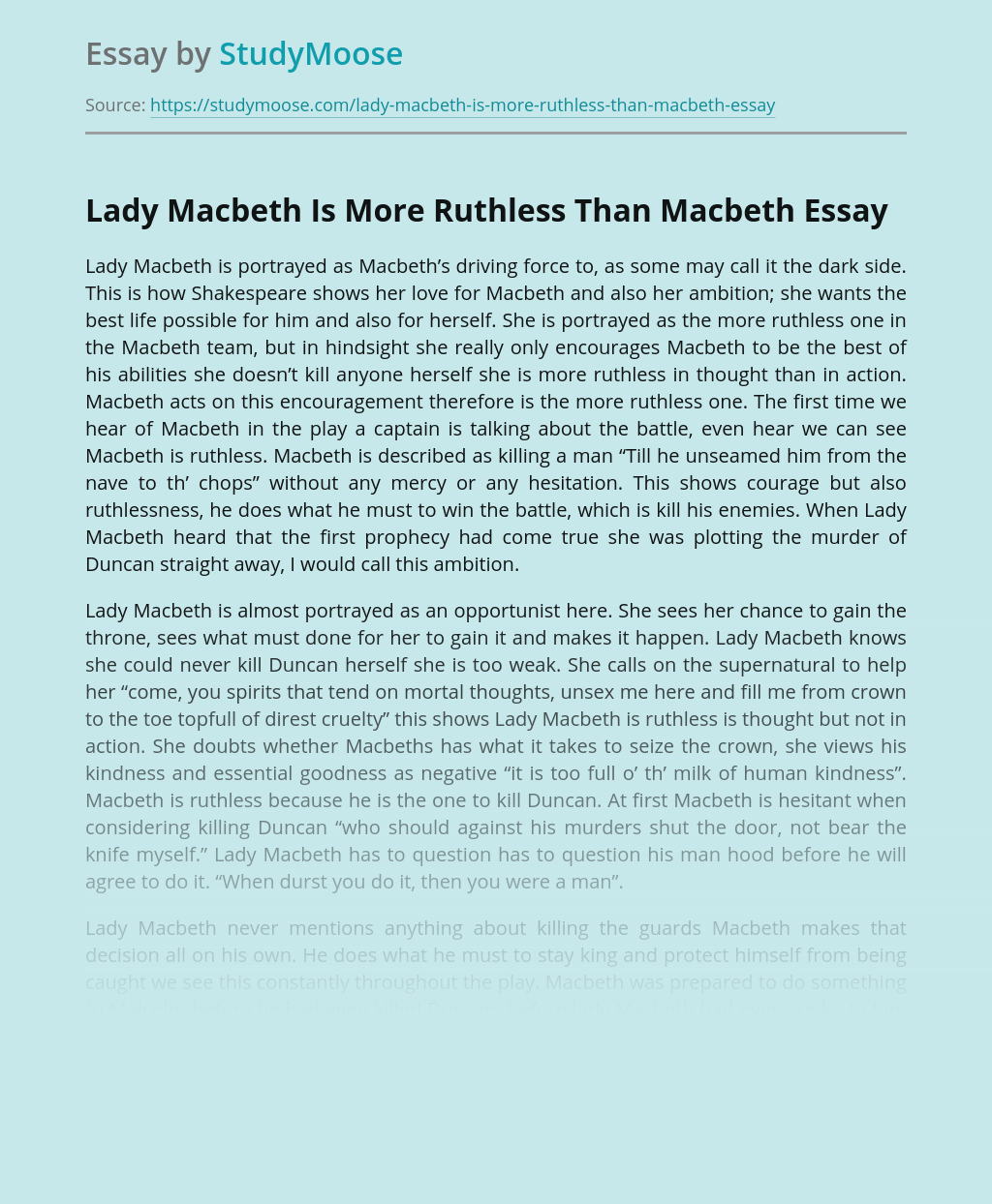 Lady Macbeth Is More Ruthless Than Macbeth