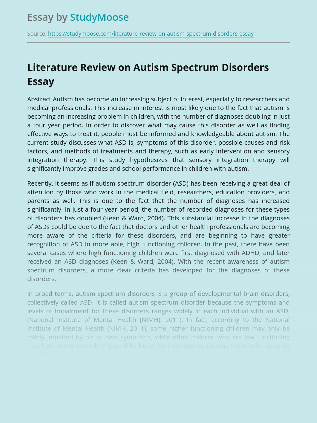 Literature Review on Autism Spectrum Disorders
