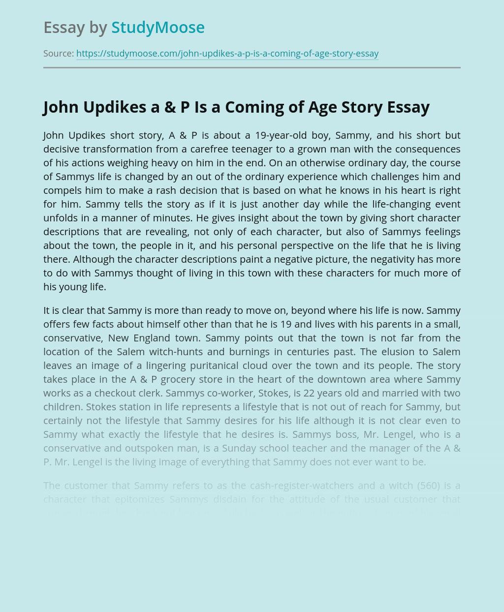 John Updikes a & P Is a Coming of Age Story