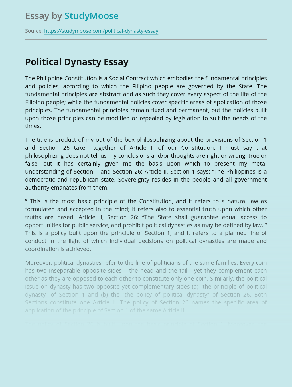 The Philippine Constitution - Political Dynasty