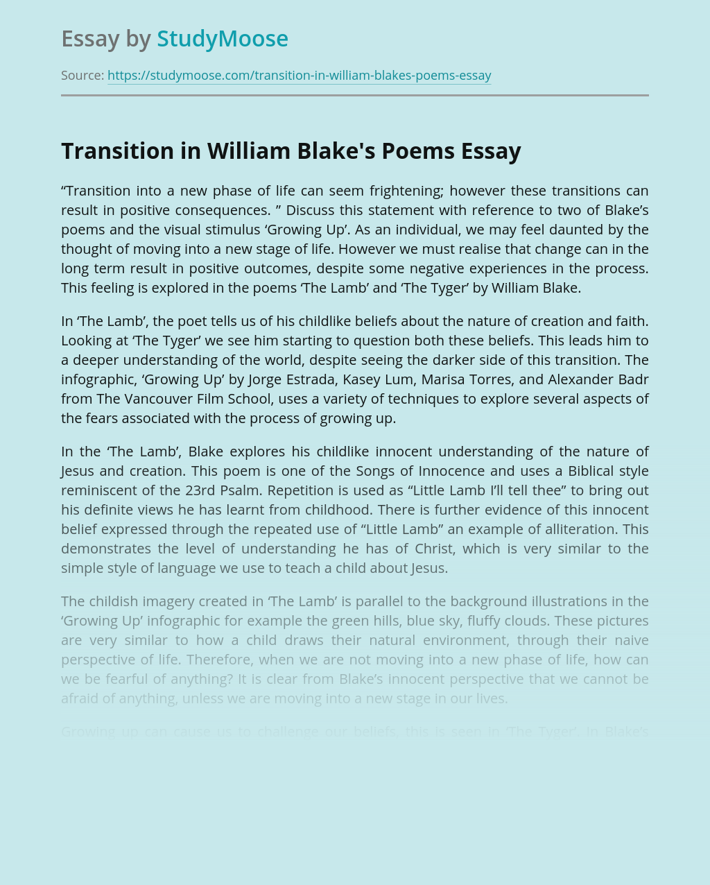 Transition in William Blake's Poems