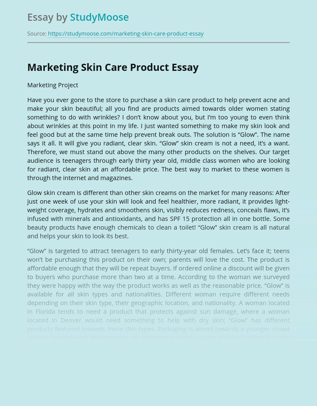 Marketing Skin Care Product