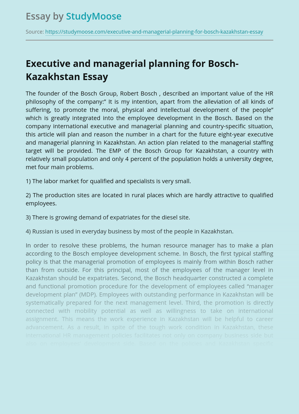 Management and Executive Planning for Bosch-Kazakhstan