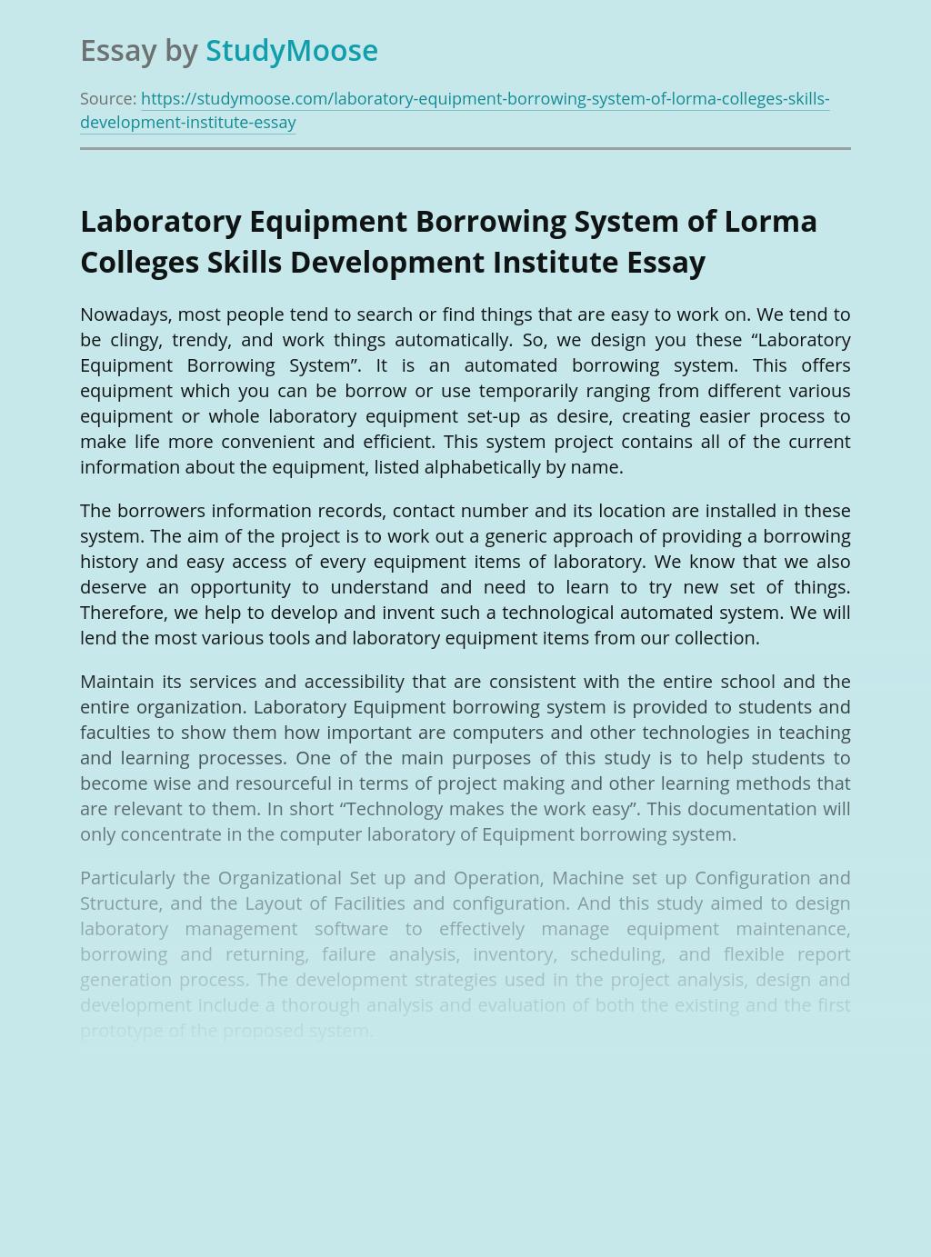 Laboratory Equipment Borrowing System of Lorma Colleges Skills Development Institute