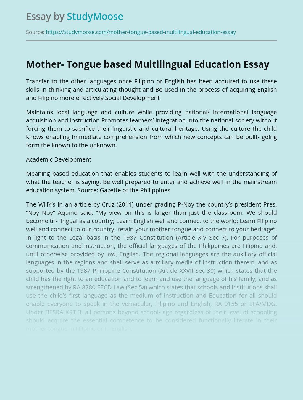 Mother- Tongue based Multilingual Education