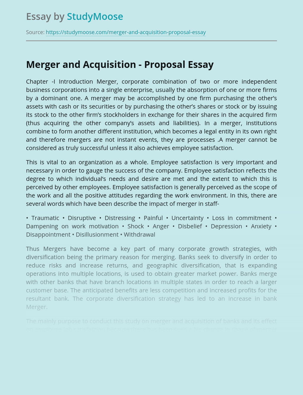 Merger and Acquisition - Proposal