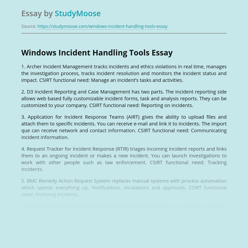 Windows Incident Handling Tools