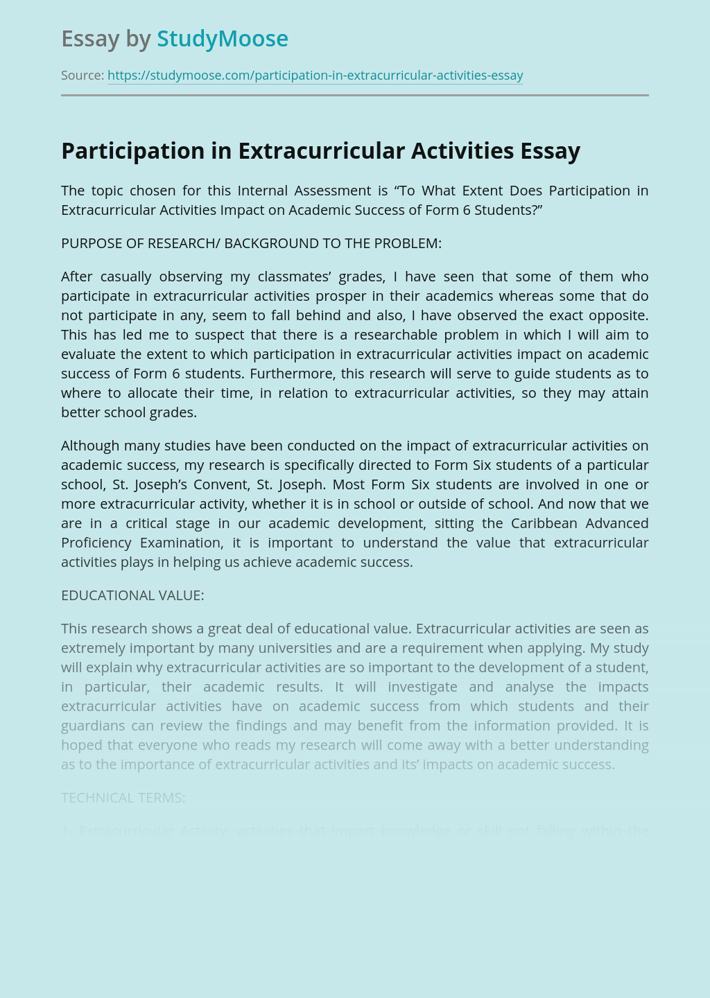 Participation in Extracurricular Activities