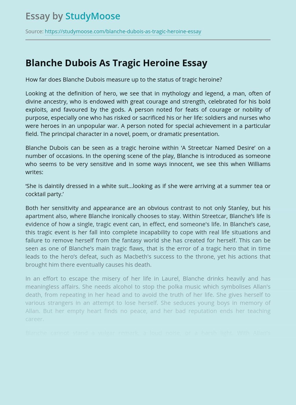 Blanche Dubois As Tragic Heroine