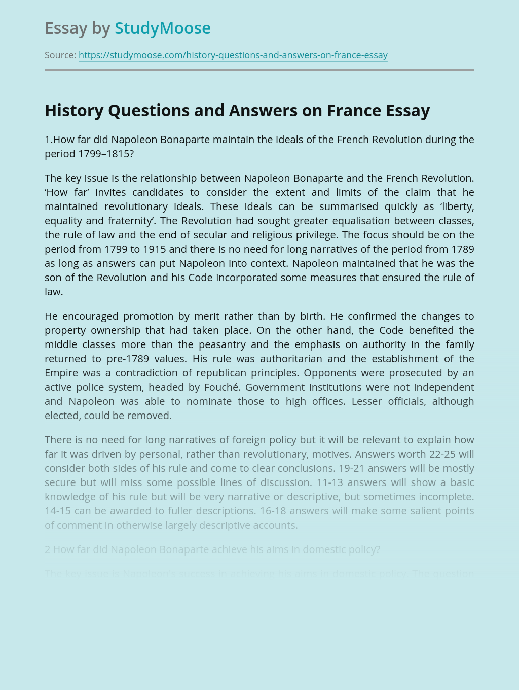History Questions and Answers on France