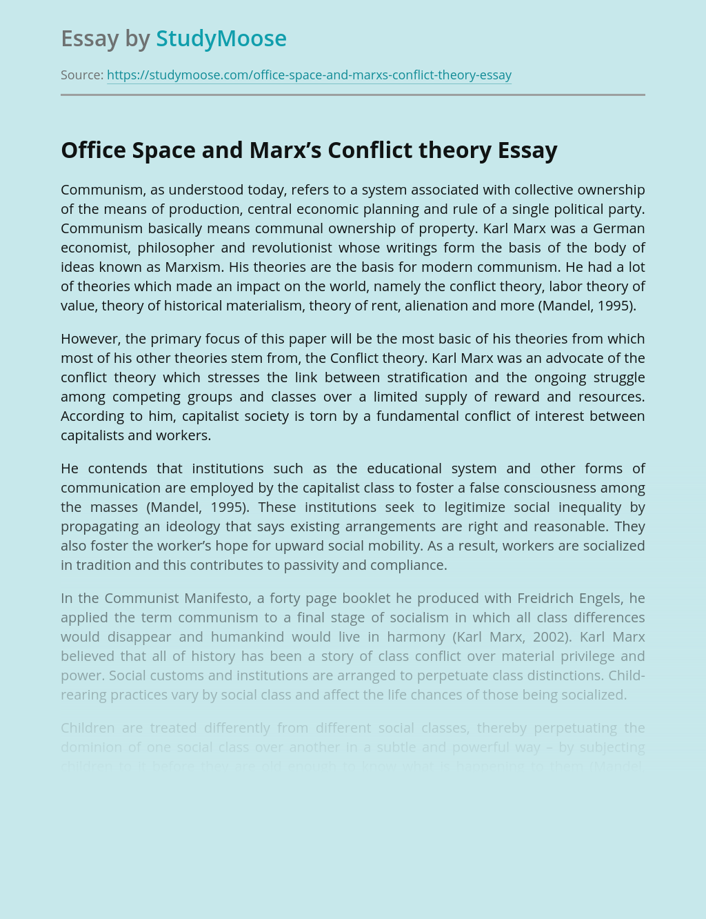 Office Space and Marx's Conflict theory