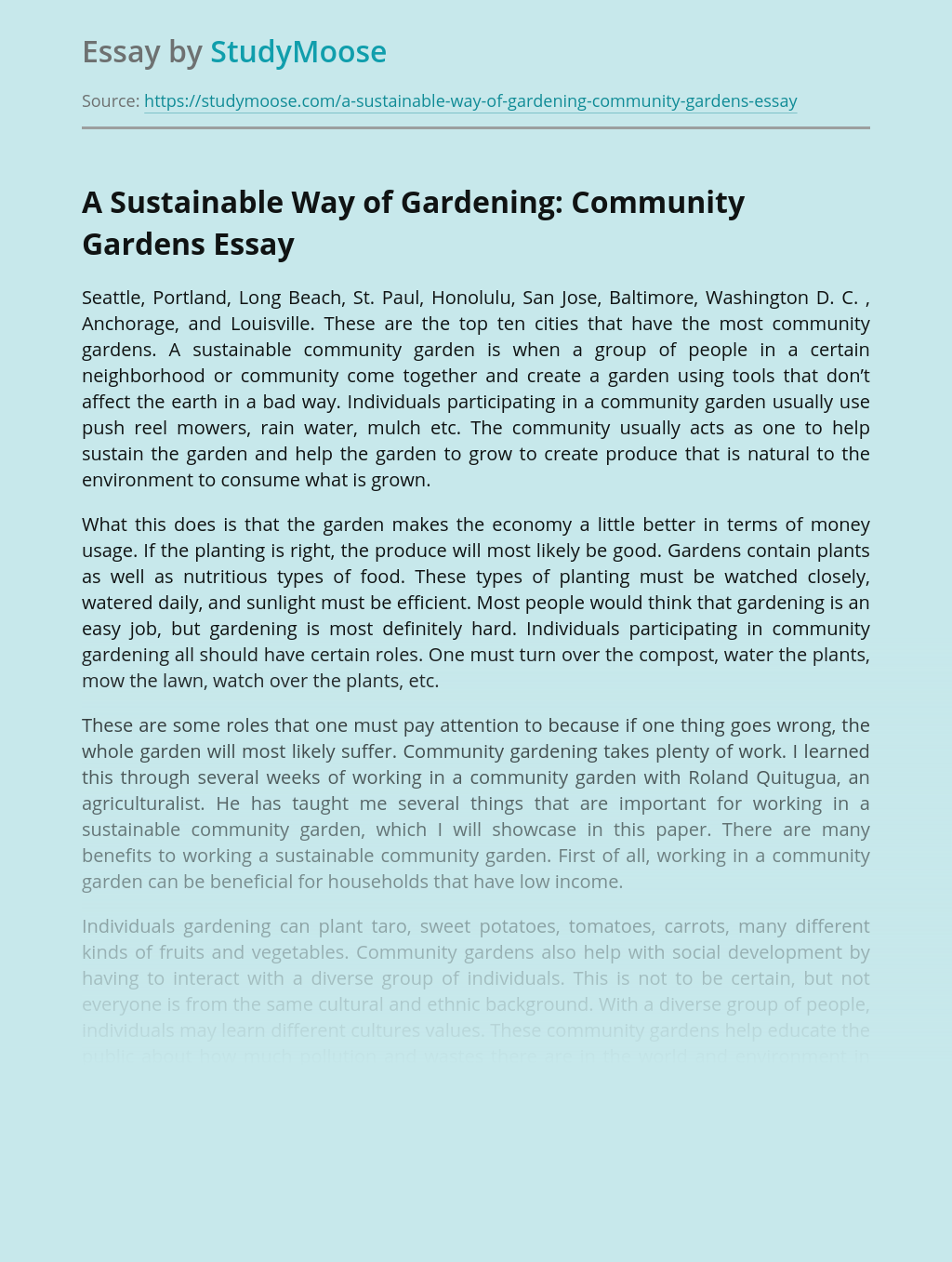 A Sustainable Way of Gardening: Community Gardens