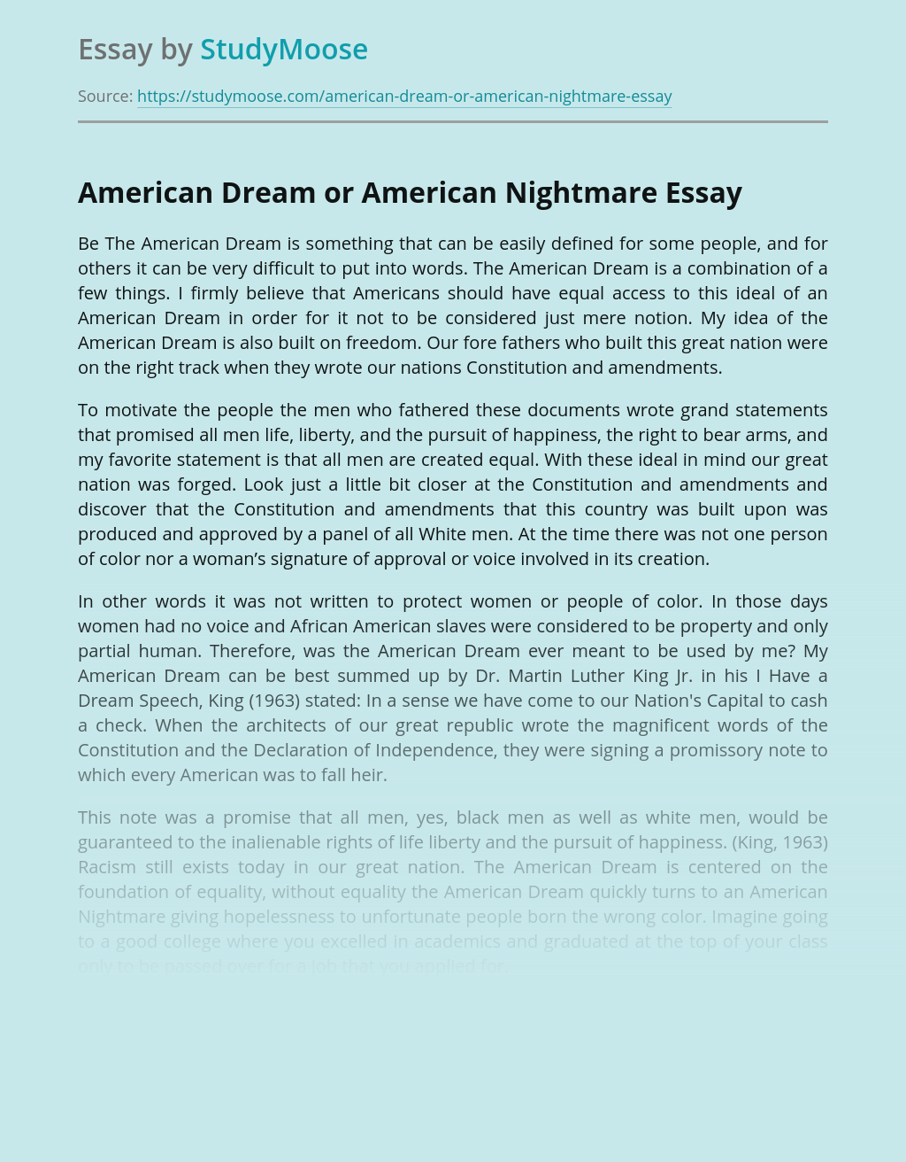 American Dream or American Nightmare