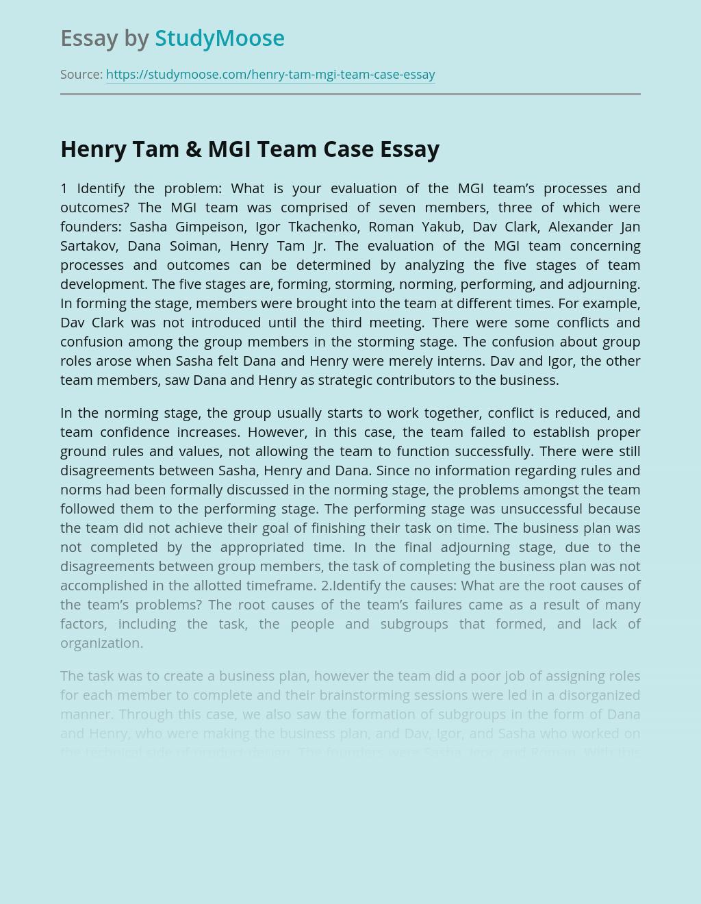 Henry Tam & MGI Team Case