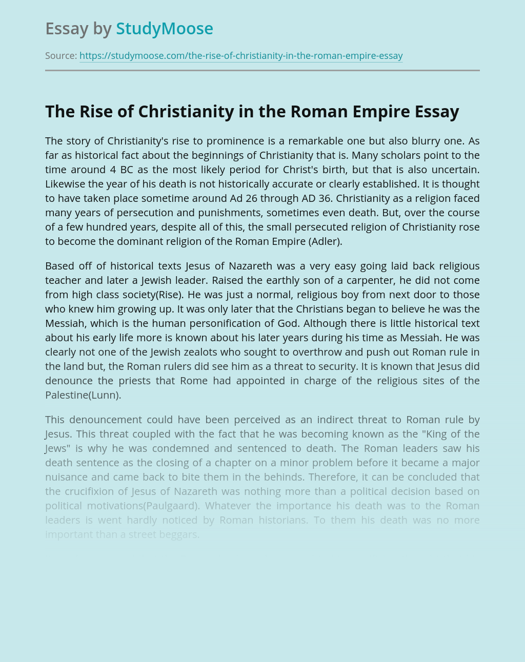 ?The Rise of Christianity in the Roman Empire
