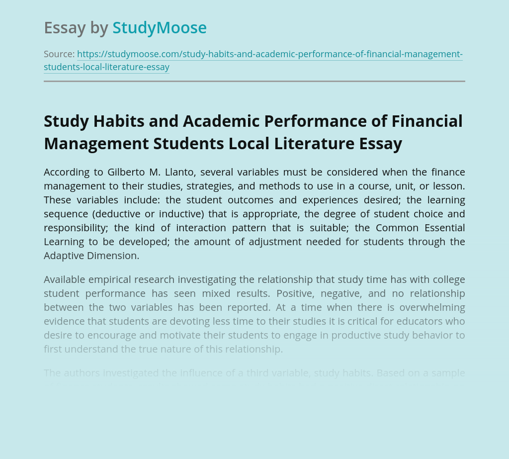 Study Habits and Academic Performance of Financial Management Students Local Literature