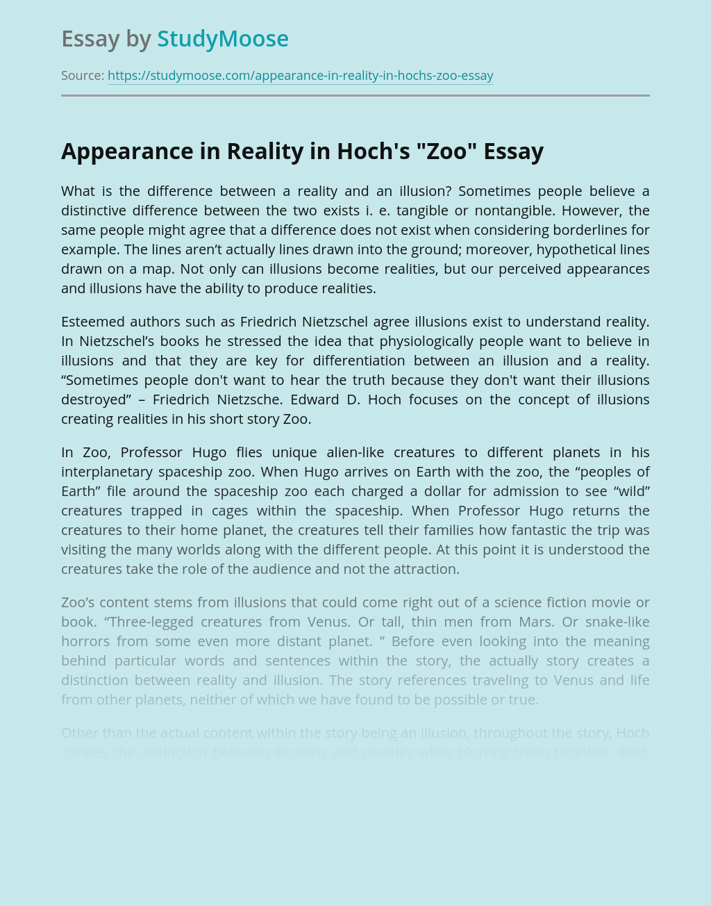 """Appearance in Reality in Hoch's """"Zoo"""""""