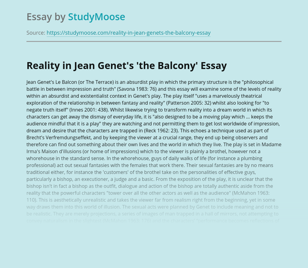 Reality in Jean Genet's 'The Balcony'
