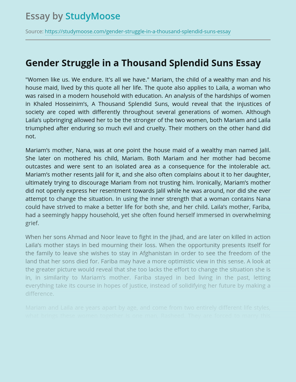 Gender Struggle in a Thousand Splendid Suns