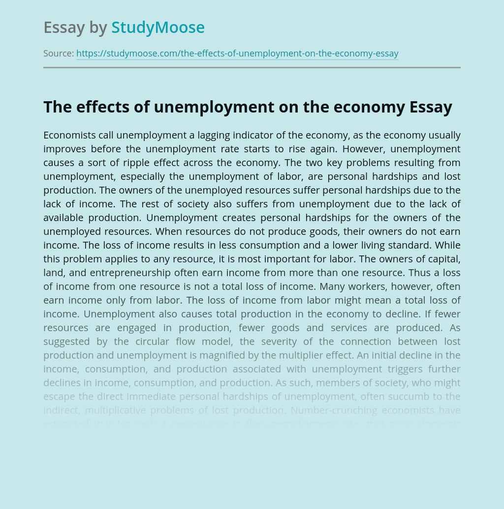 ?The effects of unemployment on the economy