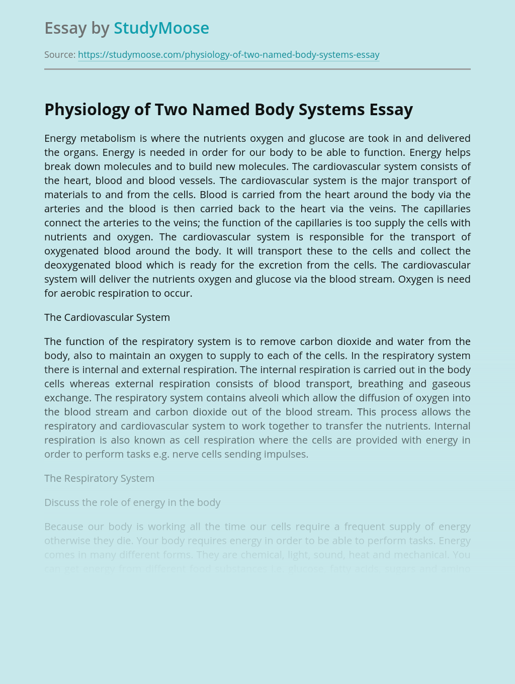 Physiology of Two Named Body Systems