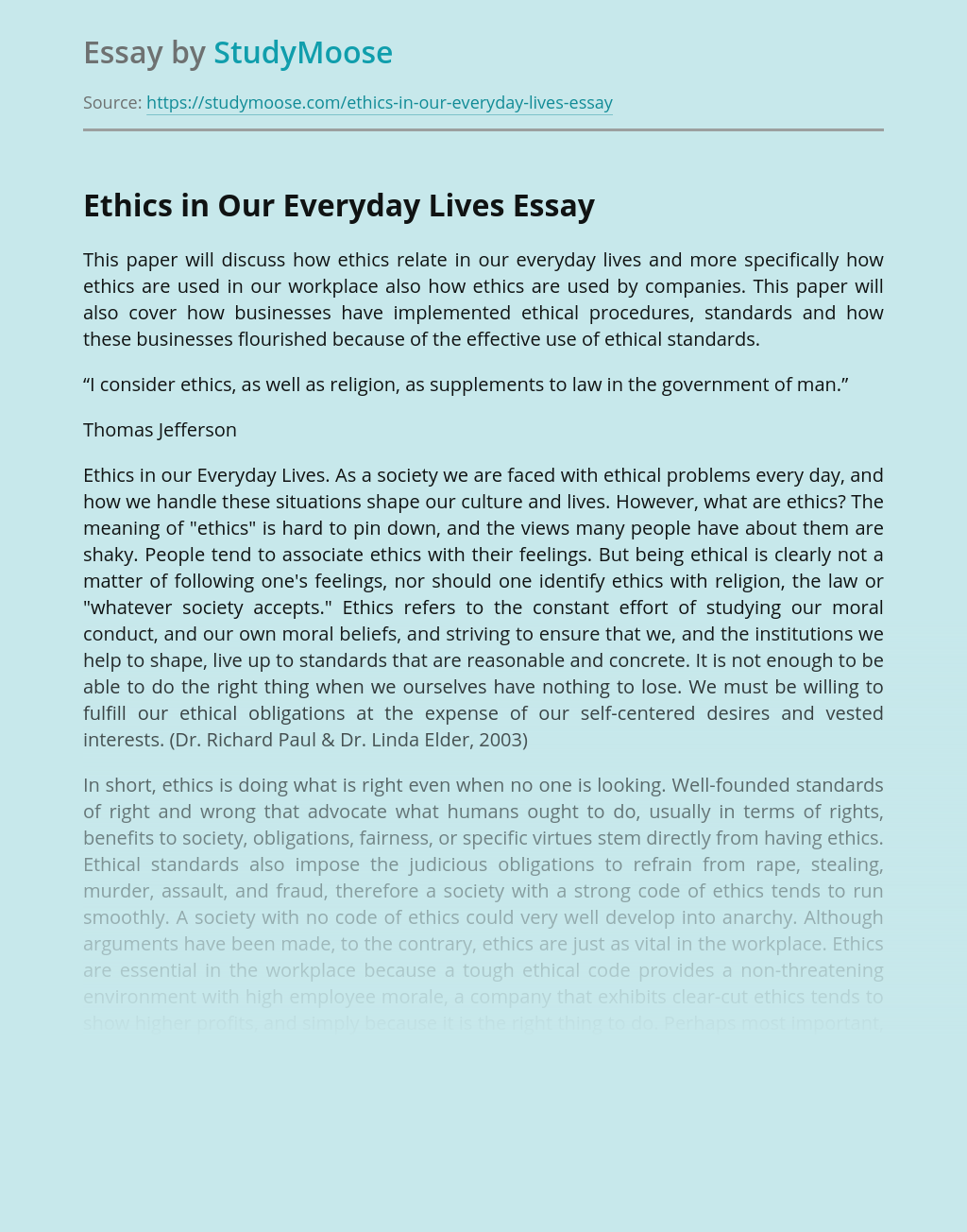 Ethics in Our Everyday Lives