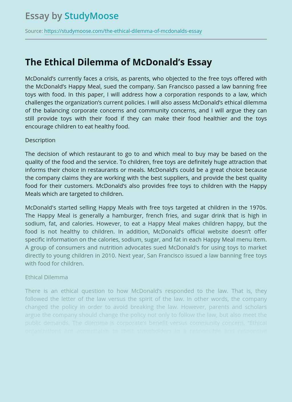 The Ethical Dilemma of McDonald's Company