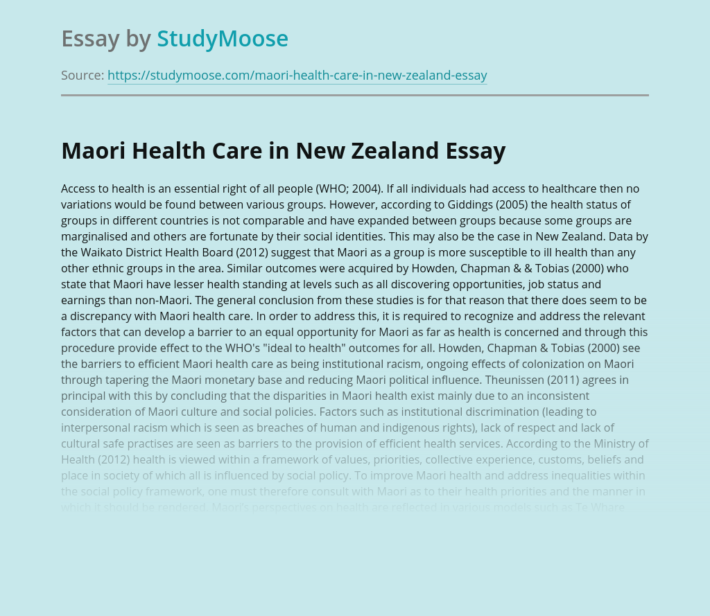 Maori Health Care in New Zealand
