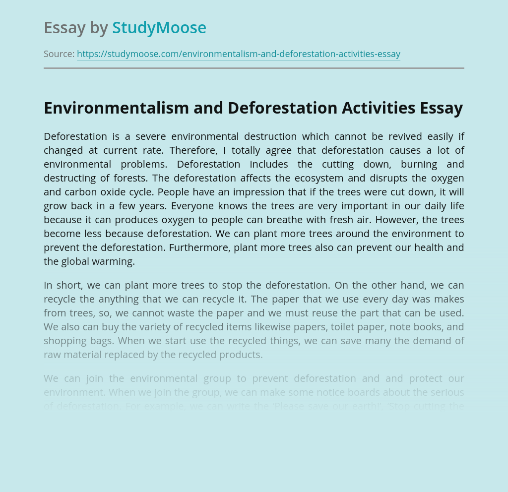 Environmentalism and Deforestation Activities