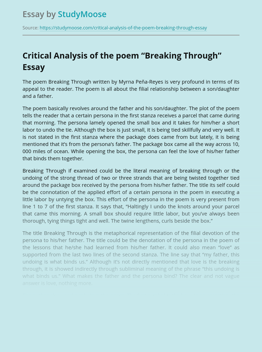 """Critical Analysis of the Poem """"Breaking Through"""""""