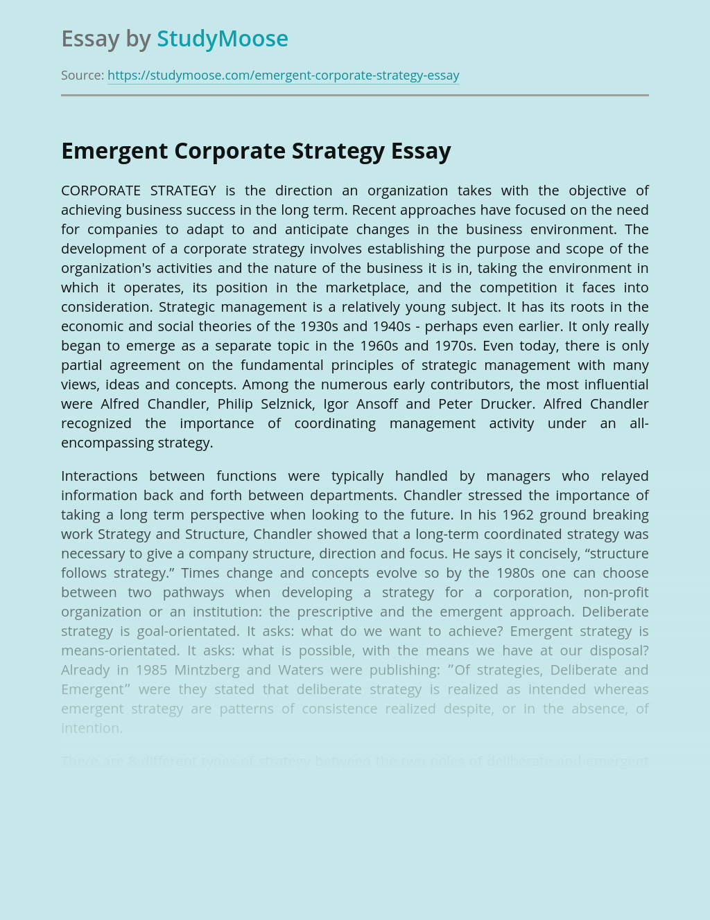 Emergent Corporate Strategy