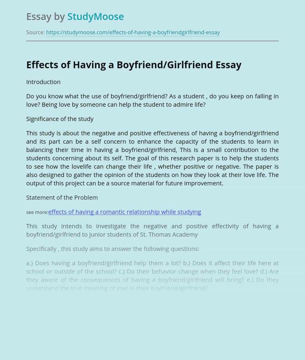 Effects of Having a Boyfriend/Girlfriend