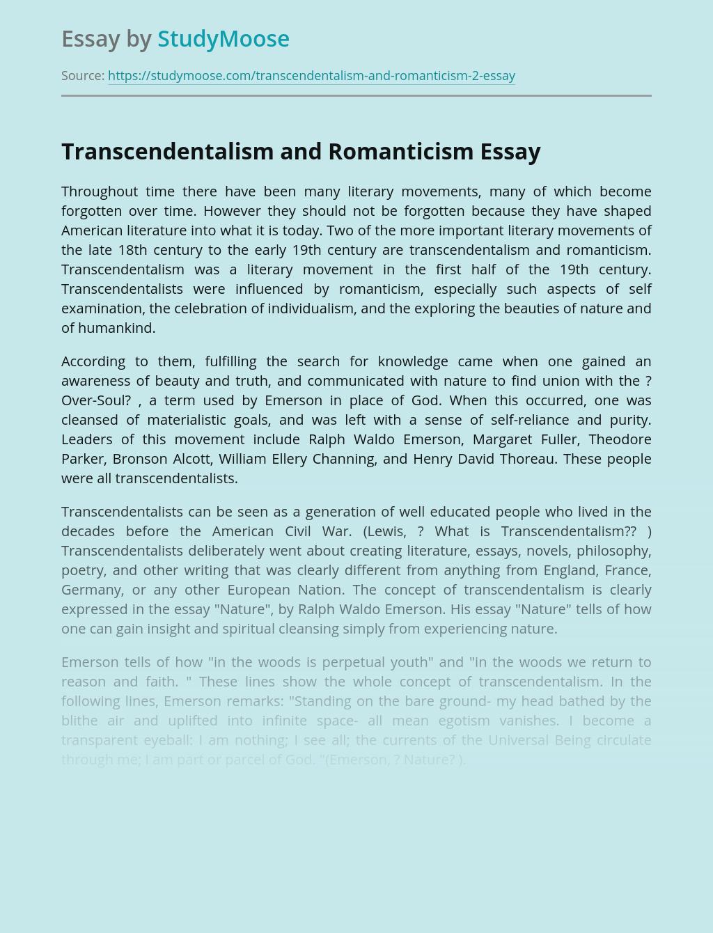 Transcendentalism and Romanticism