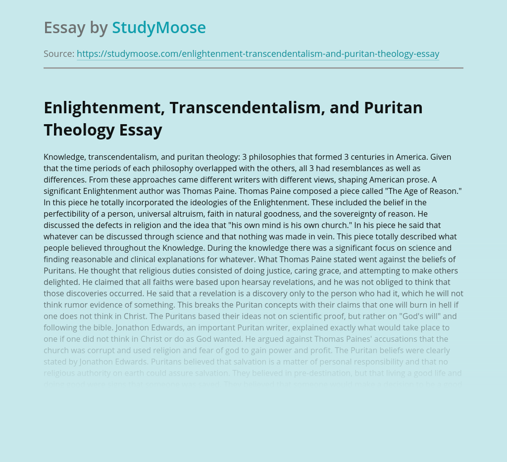 Enlightenment, Transcendentalism, and Puritan Theology