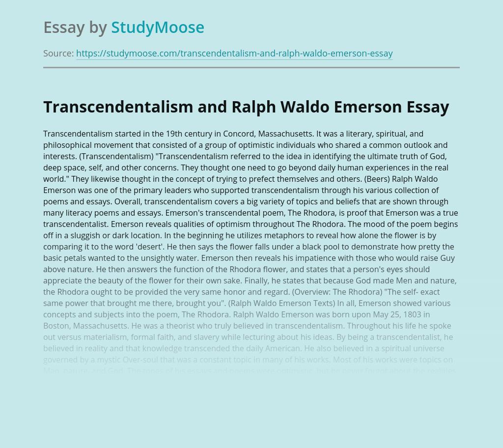 Transcendentalism and Ralph Waldo Emerson