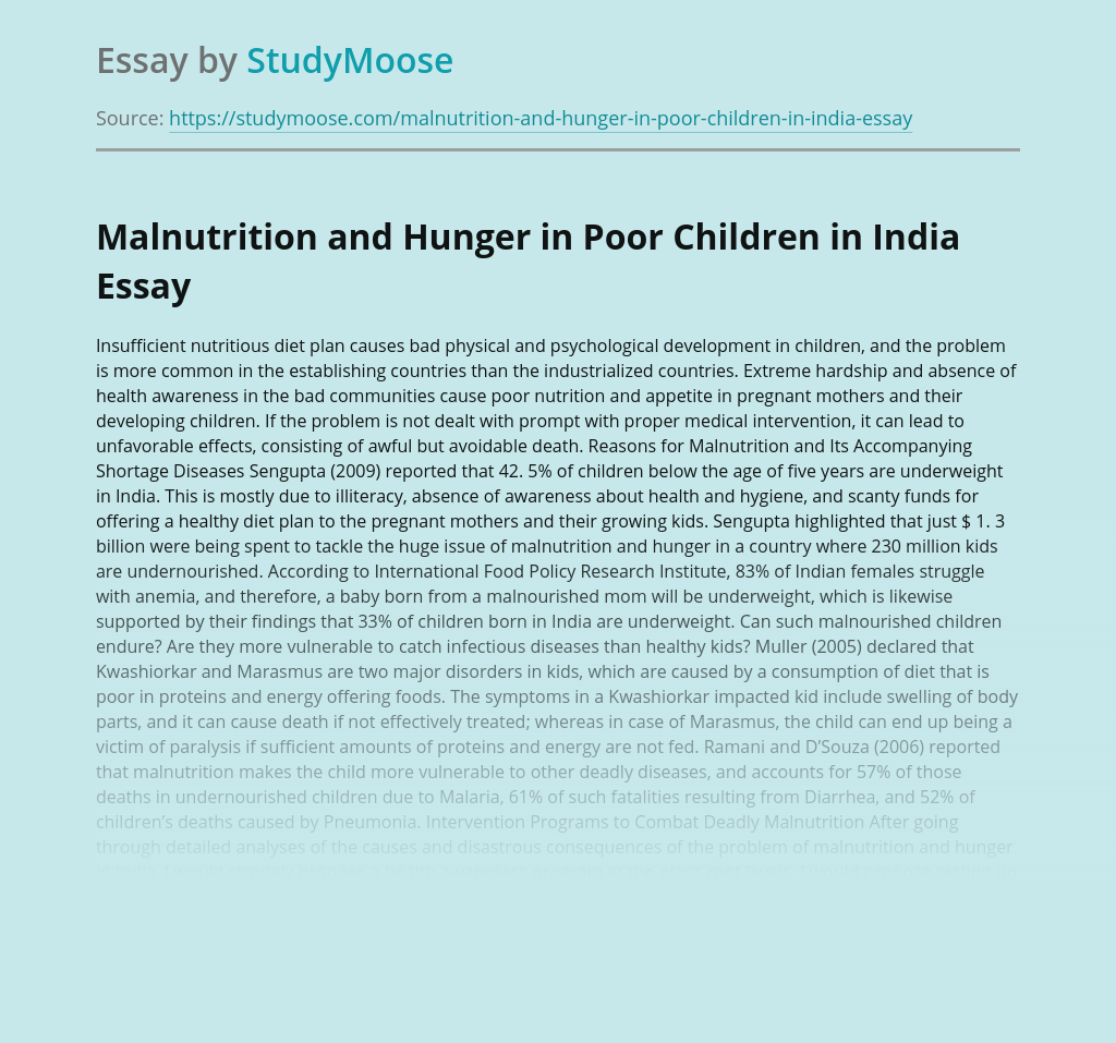 Malnutrition and Hunger in Poor Children in India
