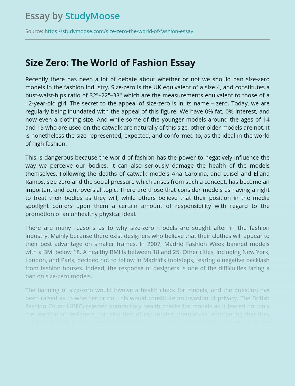 Size Zero: The World of Fashion