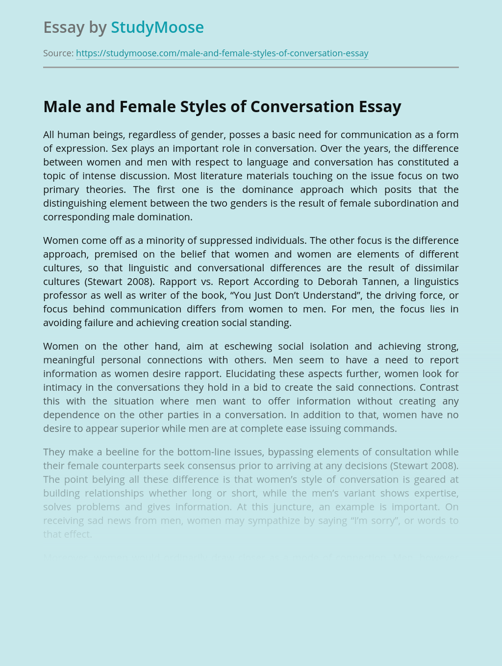 Male and Female Styles of Communication