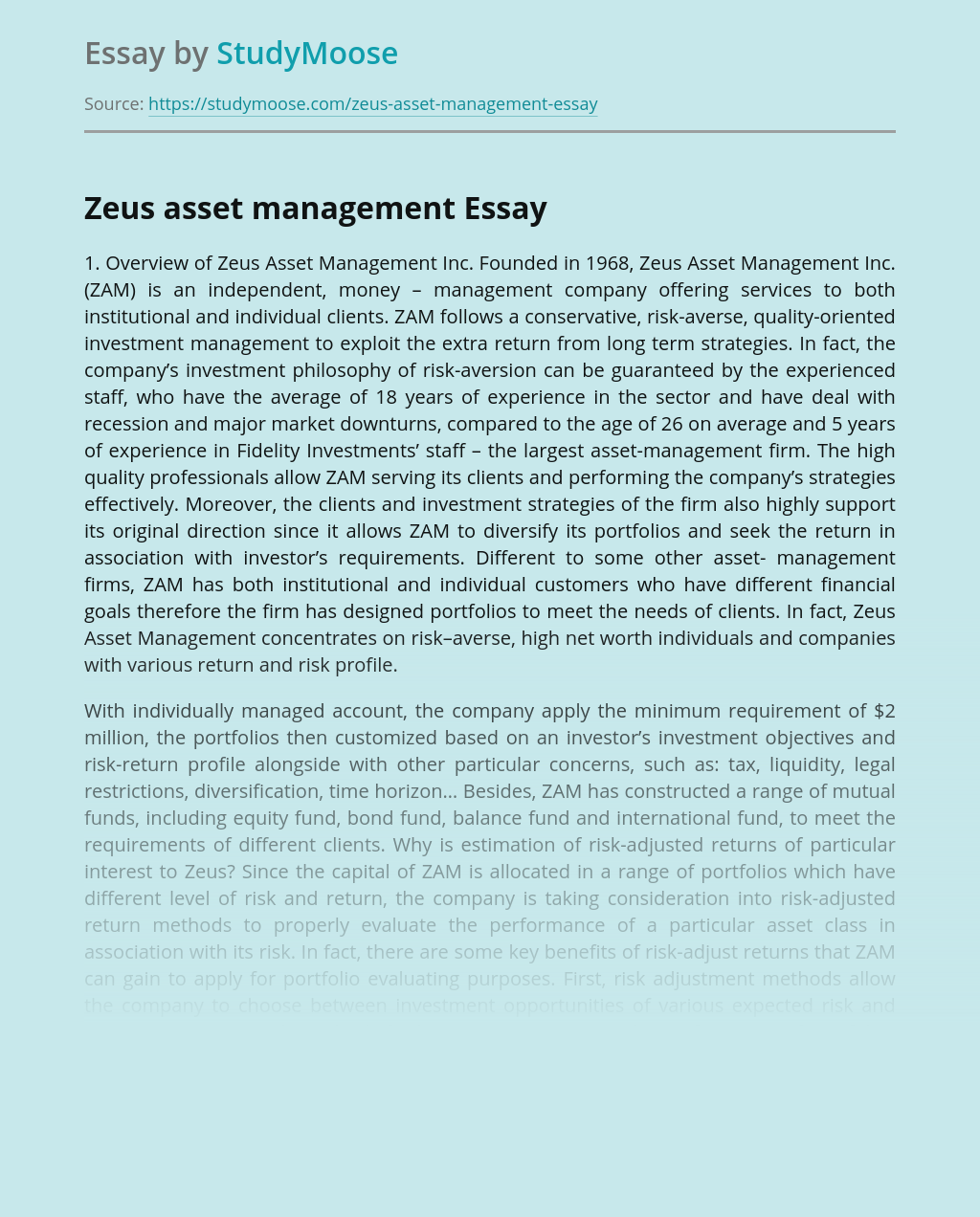 Zeus asset management