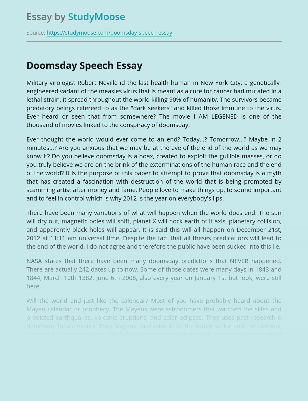 Doomsday of Mankind Speech
