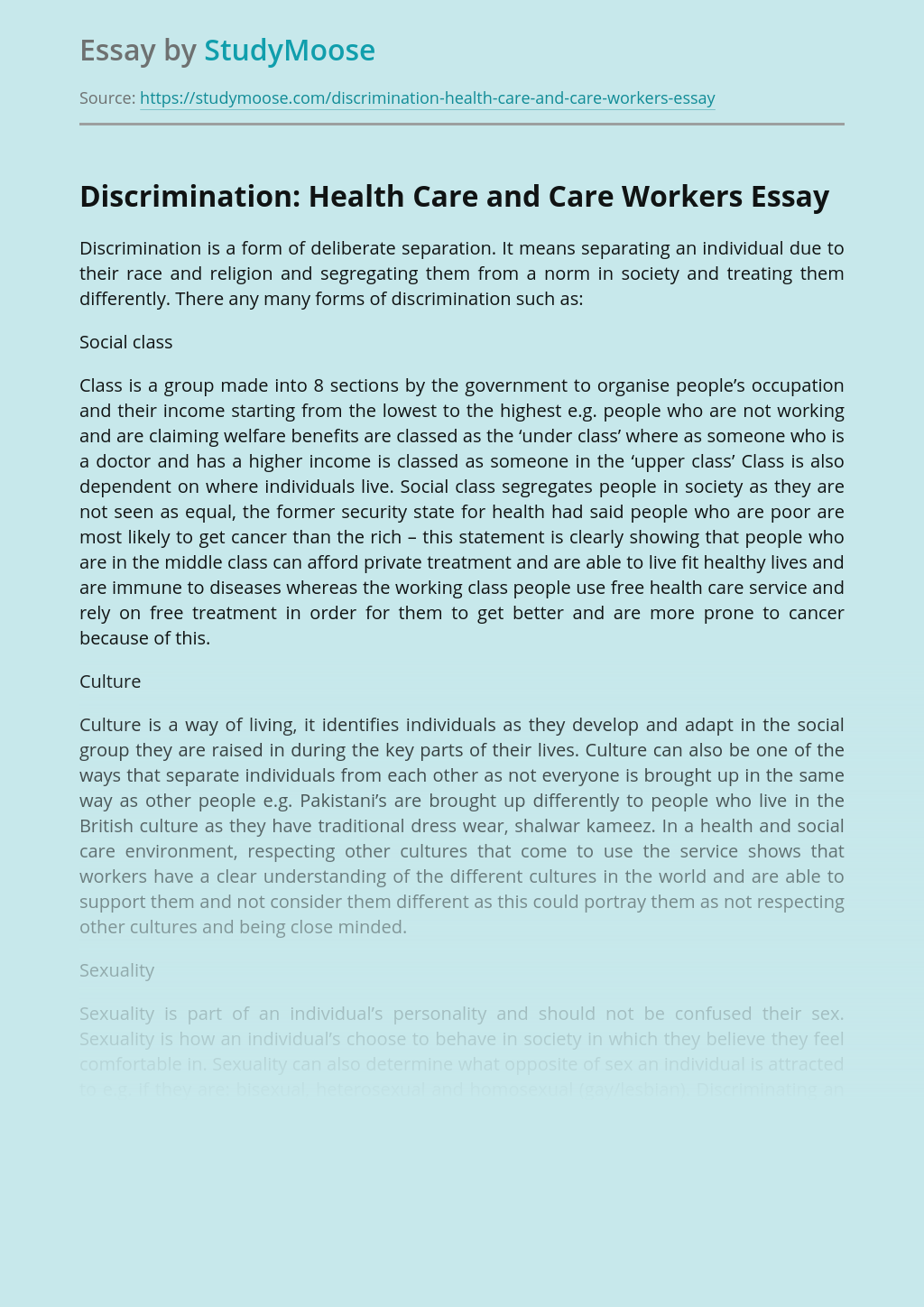Discrimination: Health Care and Care Workers