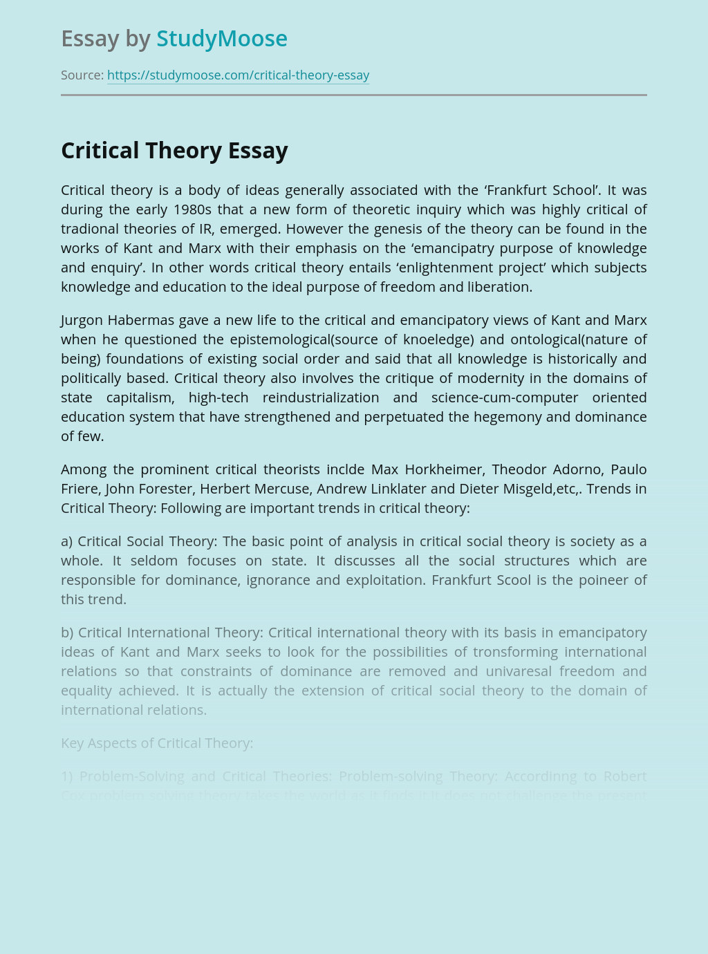 Trends in Critical Theory