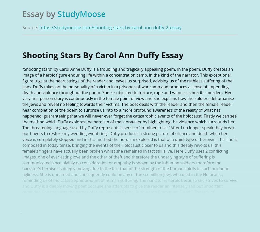 Shooting Stars By Carol Ann Duffy: Poem Analysis
